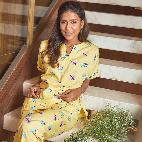 Dandelion - Yellow - Printed Cotton- Ladybird - Dip Neck Top & Pajama Set