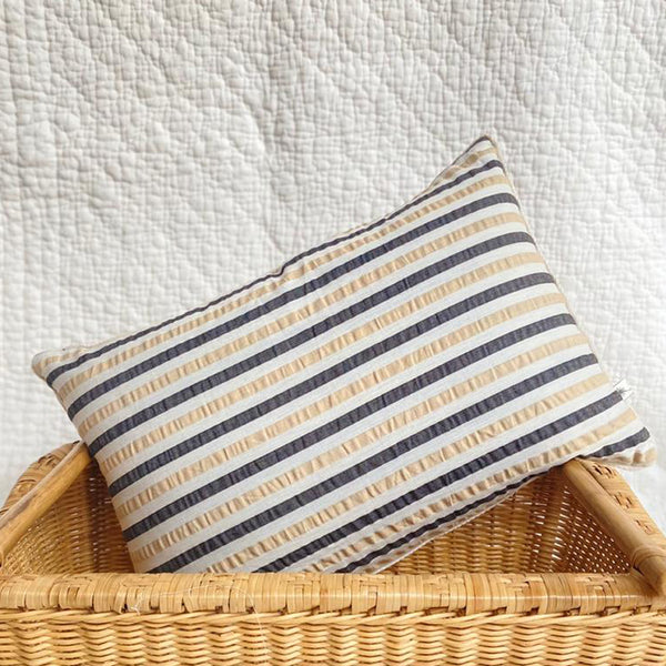 Reversible Salt & Pepper Latte Stripe Kidney Cushion