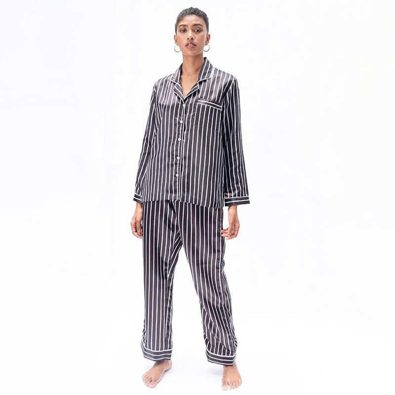 Midnight Moon Satin Notched Pyjama Set