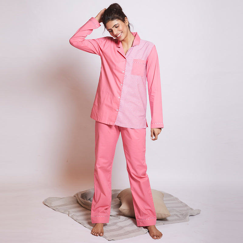 Bubblegum Cotton Notched Collar Pyjama Set