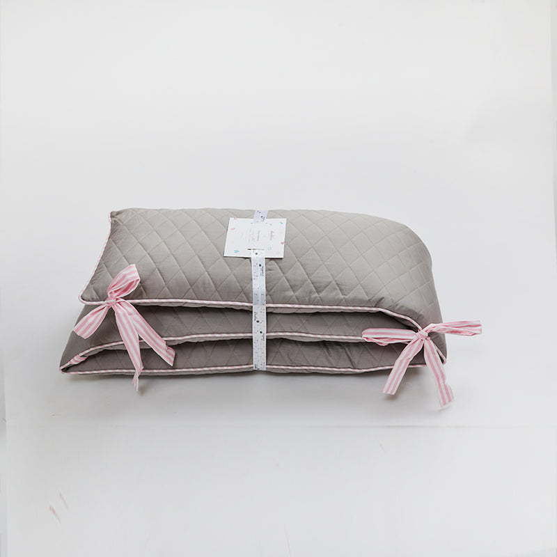 Grey With Pink Stripe Cotton Bumper
