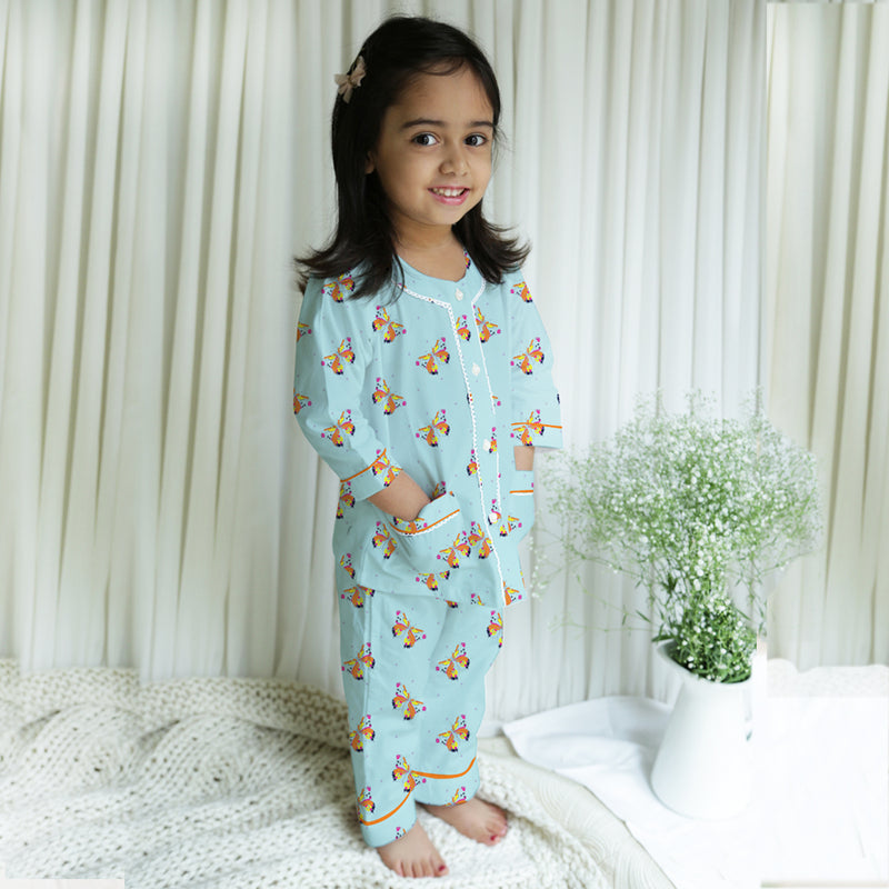 Kissed By A Butterfly Cotton Henley Neck Pyjama Set