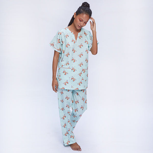 Women Cotton Dip-Neck Pyjama Set