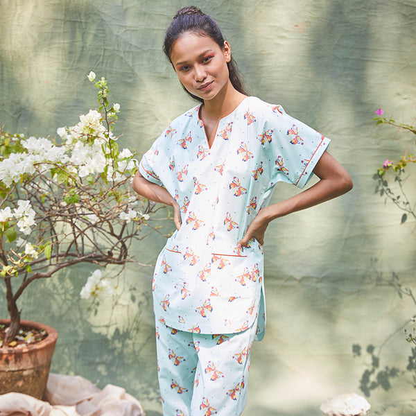 Kissed By A Butterfly Cotton Dip-Neck Pyjama Set