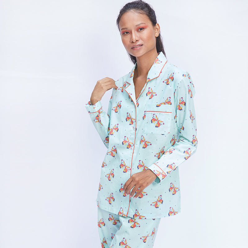 Kissed By A Butterfly Cotton Notched Pyjama Set