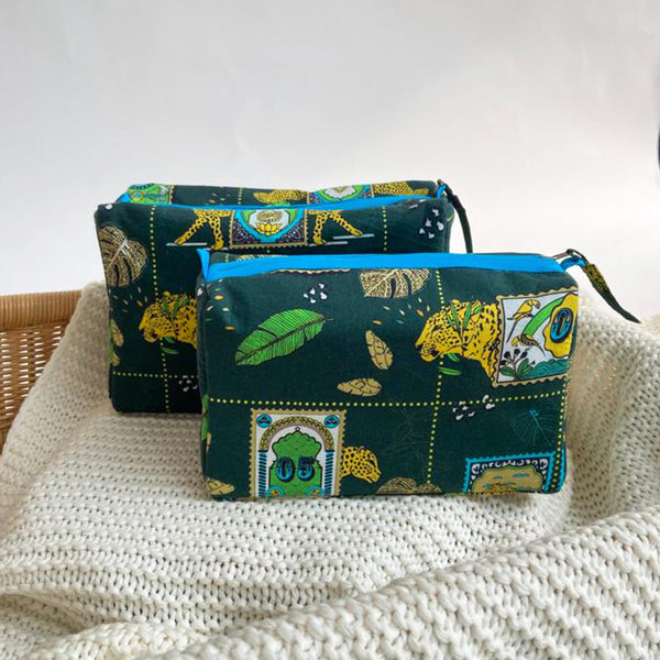 Dandelion - Green - Printed Cotton - Jungle Safari- Pouch