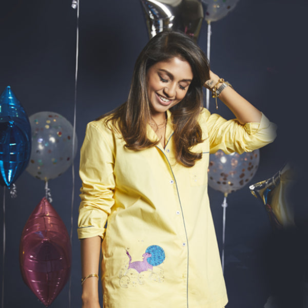 Women Leo – The Lion Embroidered Pyjama Set