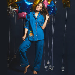 Scorpio– The Scorpion Embroidered Notched Pyjama Set