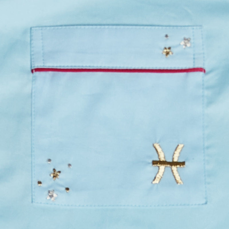 Pisces – The Fish Embroidered Notched Pyjama Set