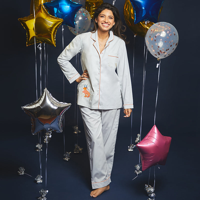 Women Capricorn – The Sea-Goat Embroidered Pyjama Set