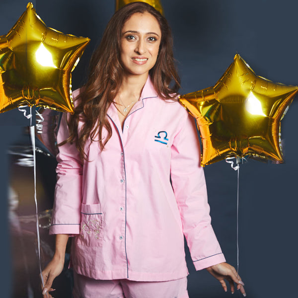 Women Libra Symbol Notched Collared Pyjama Set