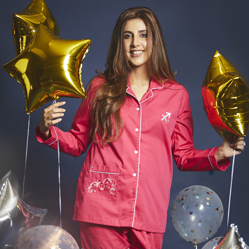 Women Sagittarius Symbol Notched Collared Pyjama Set
