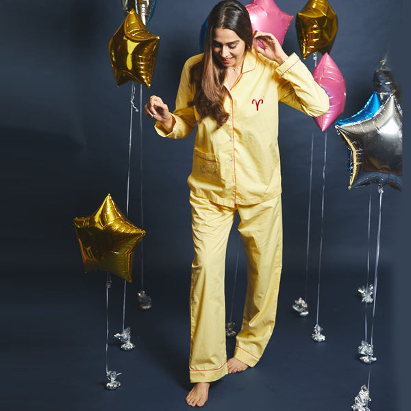 Women Aries Symbol Notched Collared Pyjama Set