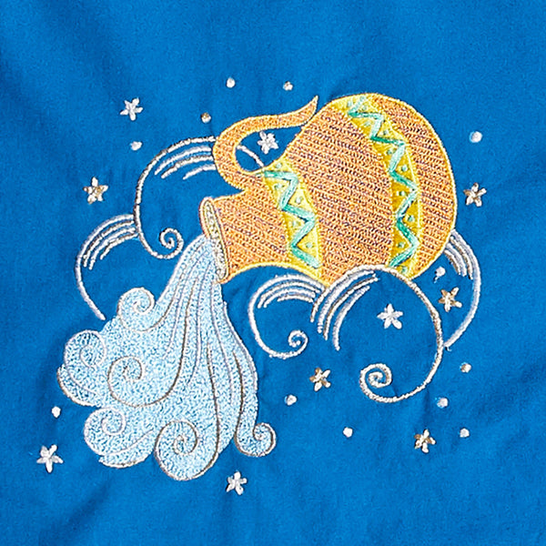 Women Aquarius – The Water Bearer Embroidered Pyjama Set