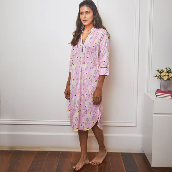 Dandelion - Baby Pink- Floral Printed Cotton- Bloom Flowers - Mid Length - Nighty Sleep dress