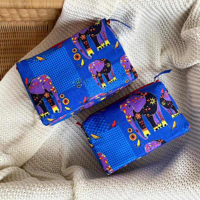 Dandelion - Blue - Printed Cotton - Elephant - Pouch