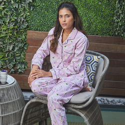 Dandelion - Baby Pink - Floral Printed Cotton - Bloom Flowers - Pajama Set