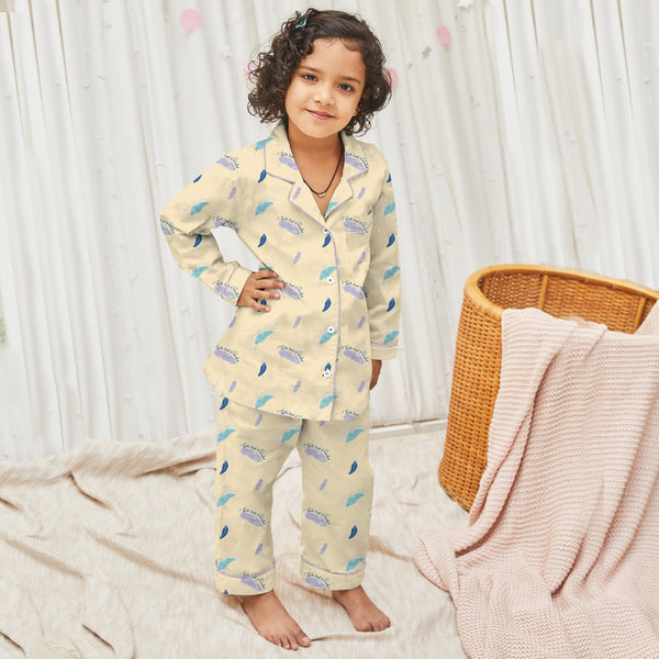 Feathers Of Faith Cotton Notched Pyjama Set