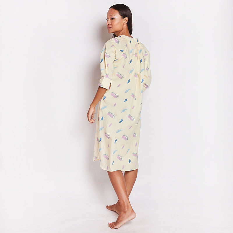Feathers Of Faith Cotton Dip-Neck Sleep Dress