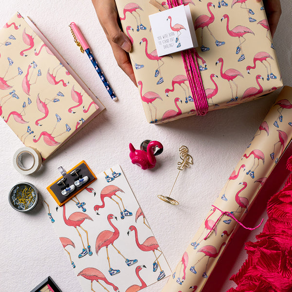 When the Flamingo Wore Sneakers - Wrapping Paper Sheets & Gift Cards (Set of 10)
