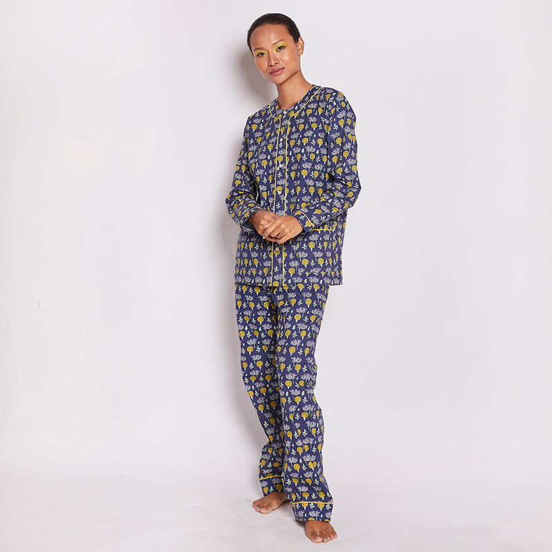 Oasis Cotton Henley Neck Pyjama Set