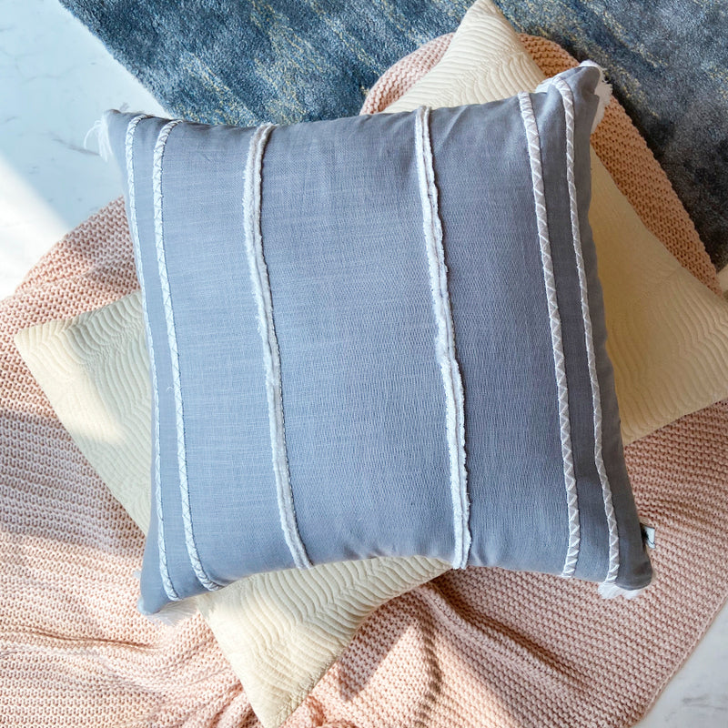 Embroidered Faraway Lines Linen Cushion  - Ash