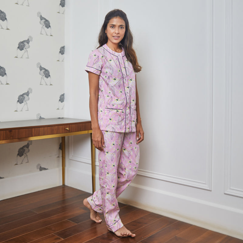 Frangipani Cotton Henley Neck Pyjama Set