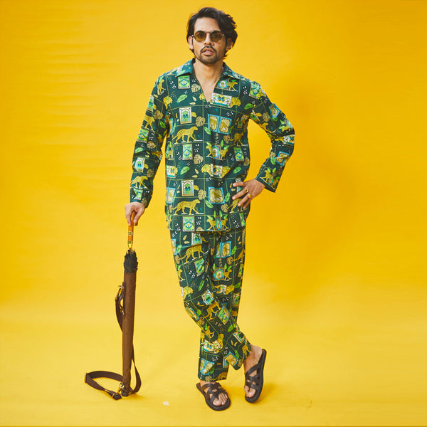 Dandelion - Green - Printed Cotton - Jungle Safari- Kurta Pajama Set