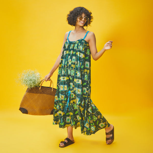 Dandelion - Green - Printed Cotton - Jungle Safari- Sleeveless Ankle Length Day Dress