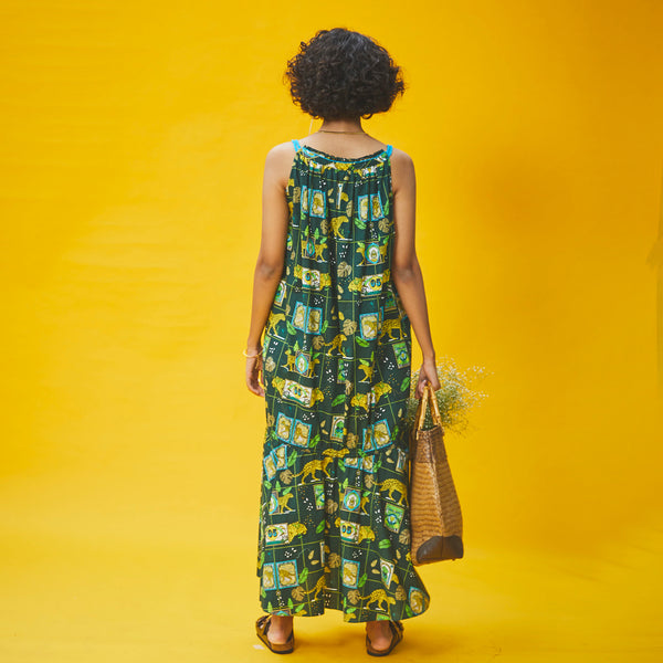 A Walk on The Wild Side Cotton Gathered Tiered Dress