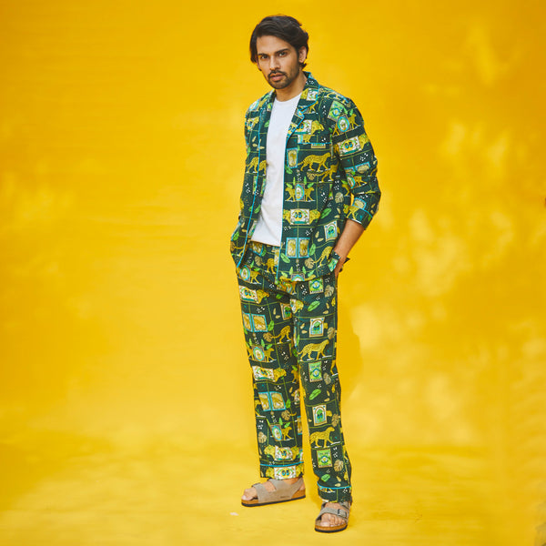 Dandelion - Green - Printed Cotton - Jungle Safari- Pajama Set