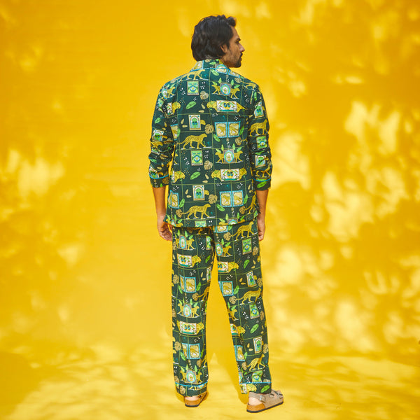 A Walk On The Wild Side Cotton Notched Pyjama Set