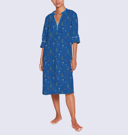 Women Cotton Dip-Neck Sleep Dress