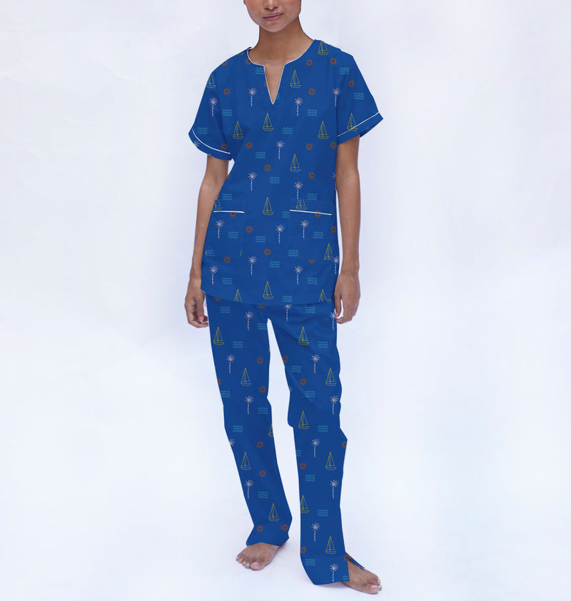 Coastline Cotton Dip-Neck Pyjama Set