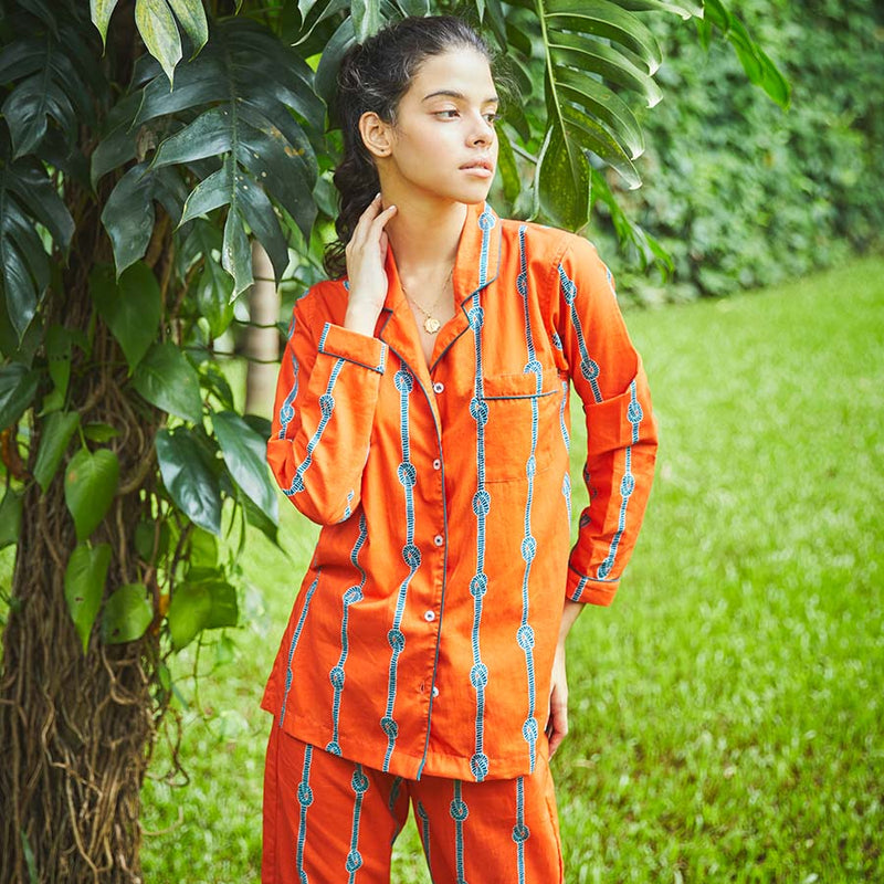 Dandelion - Orange - Printed Cotton- Stripe - Pajama Set