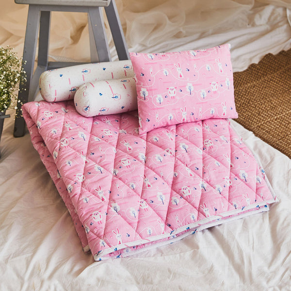 Dandelion- Kids Cotton Bedding - Pink - Sheep -Layette Mattress Pad & Pillow
