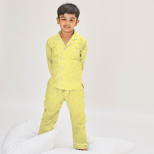 Dandelion-Yellow -Cotton-Yellow Stripe- Candy Stripe- Kids Pajamas Sets