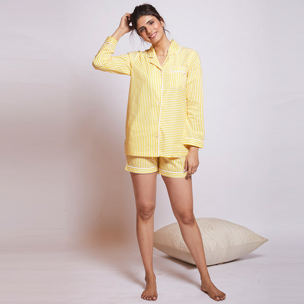 Lemon Drop Cotton Notched Shorts Set