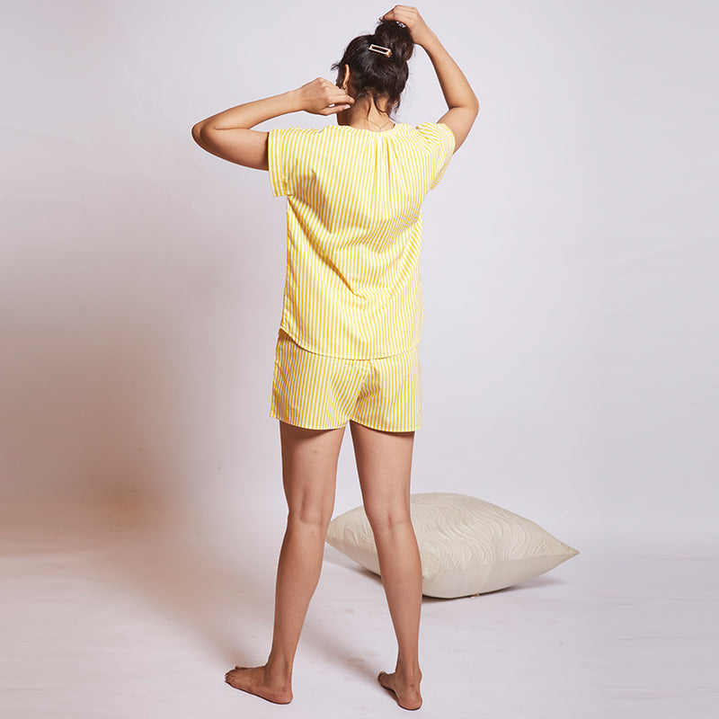 Women Cotton Slit Neck Top and Shorts