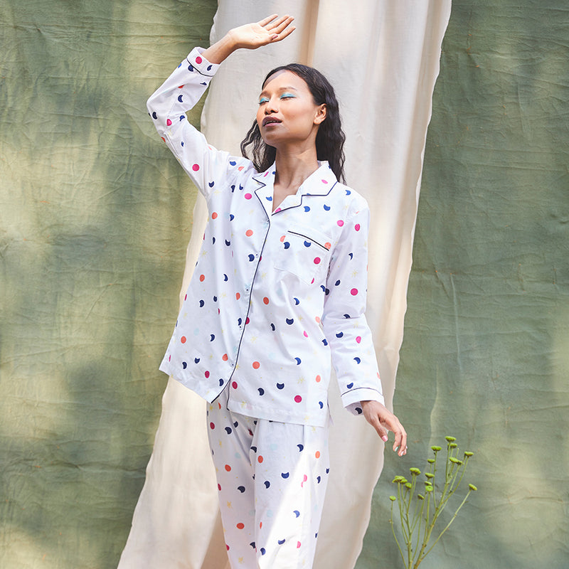 Milky Way Cotton Notched Pyjama Set