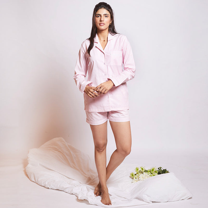 Women Cotton Notched Collar Shorts Set