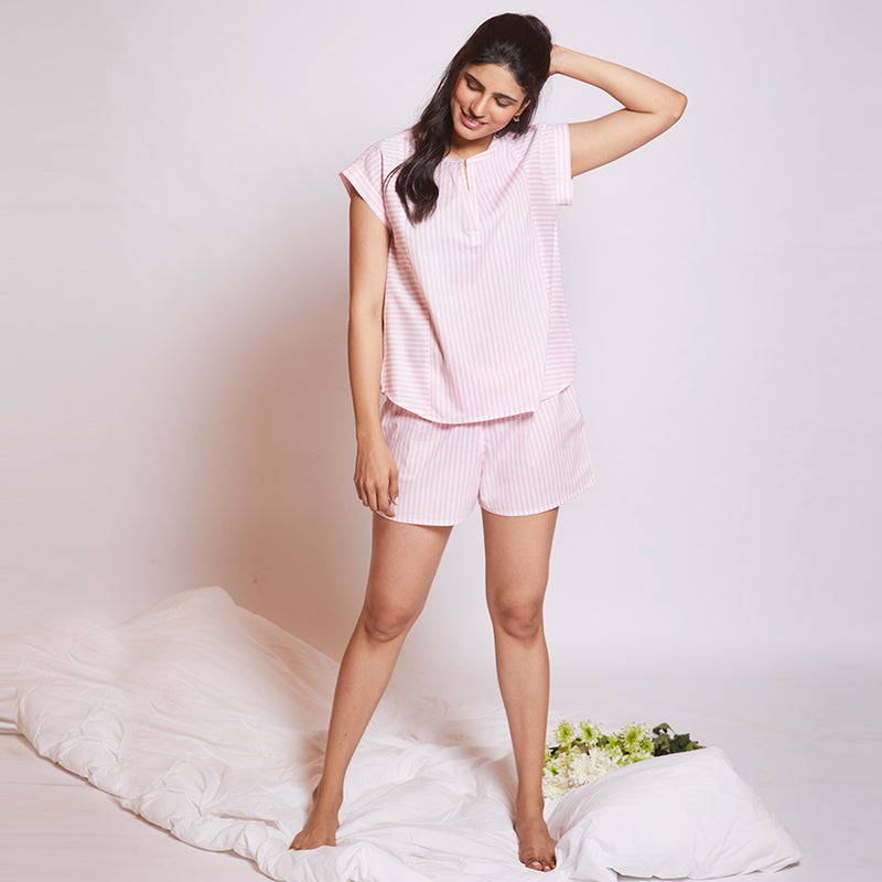 Marshmallow Cotton Slit Neck Top and Shorts