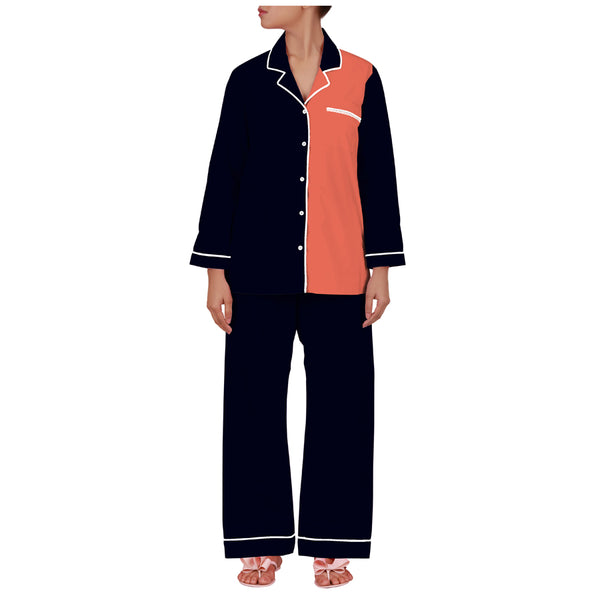 Navy Vermillion Mommy Cotton Notched Pyjama Set