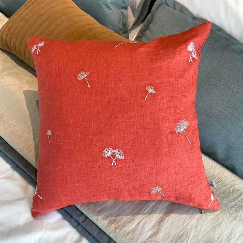Sprig Embroidered Linen Cushion - Amber