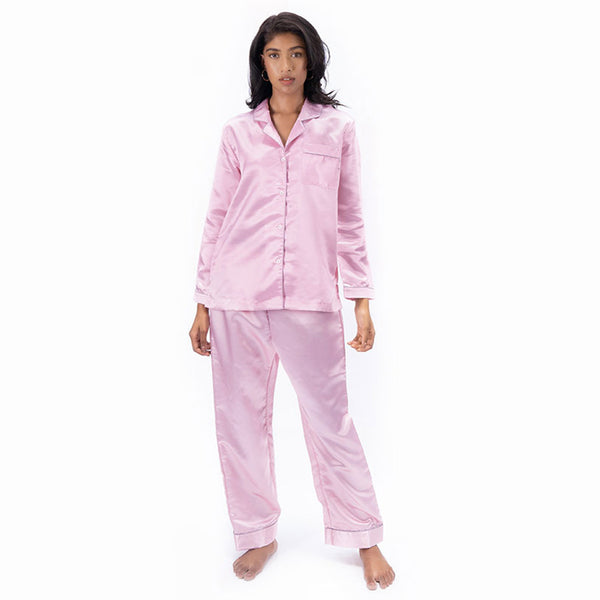 Women Satin Notched Collar Pyjama Set
