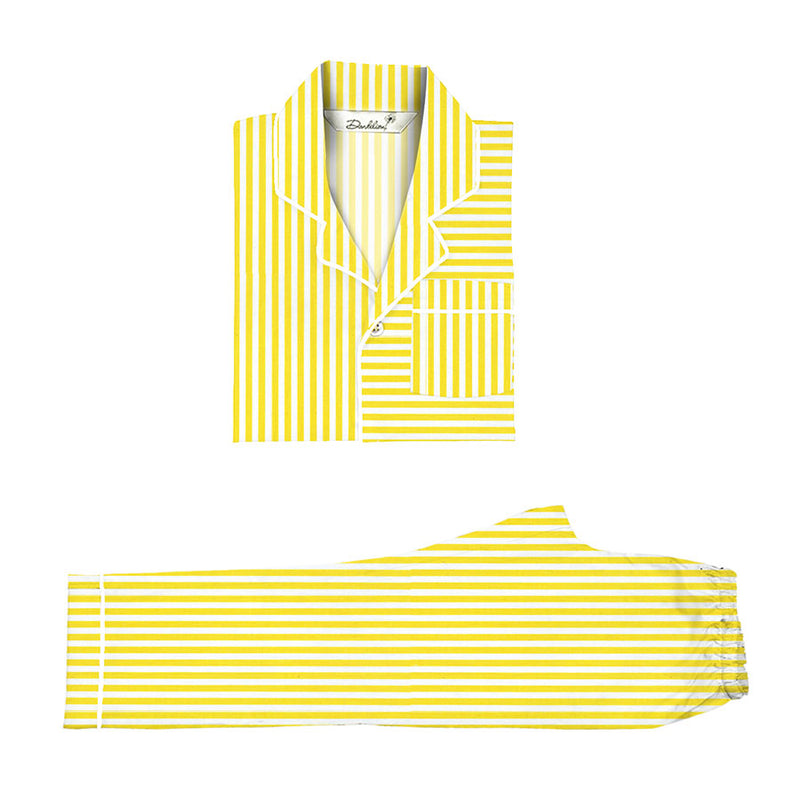 Lemon Drop Cotton Notched Pyjama Set