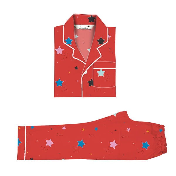 Starburst Cotton Notched Pyjama Set