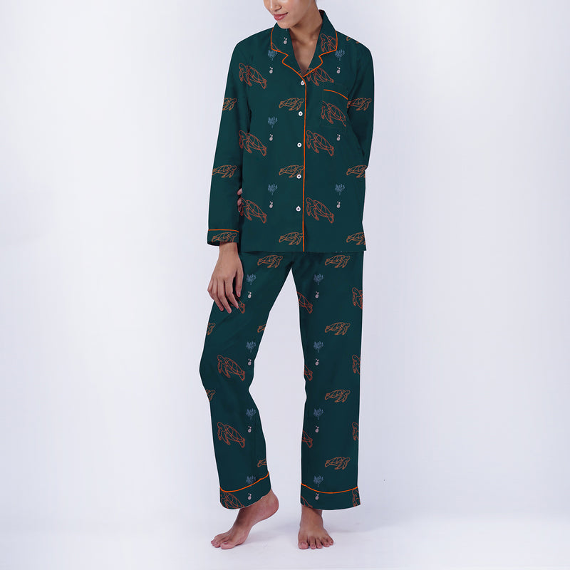 Sea Turtles Cotton Notched Pyjama Set