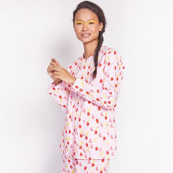 Women Cotton Henley Neck Pyjama Set