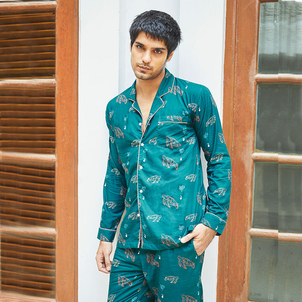 Men Cotton Nightsuit Sea Turtle